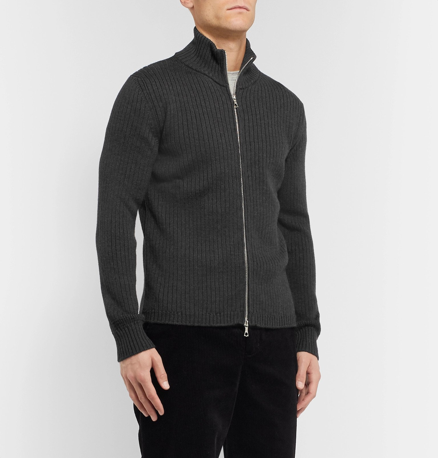Officine Generale - Ribbed Merino Wool Zip-Up Sweater - Gray