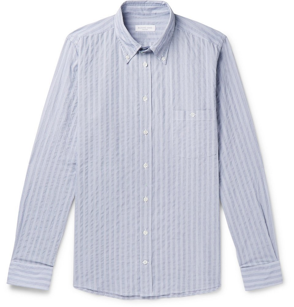 Photo: Richard James - Button-Down Collar Striped Cotton Shirt - Blue