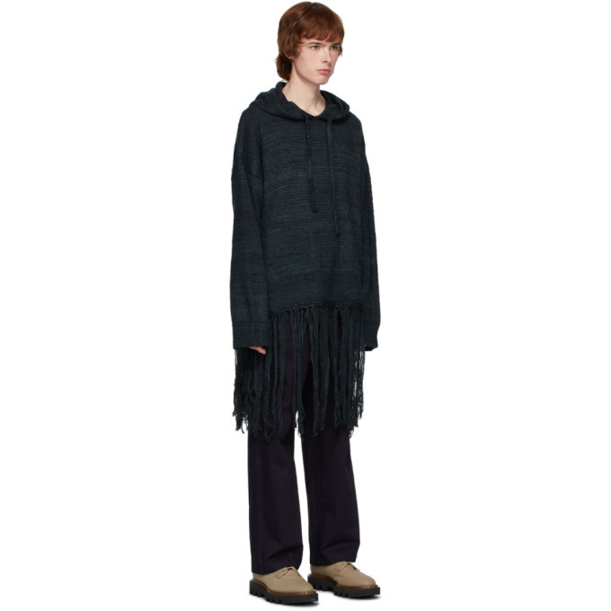 Valentino Black Silk Fringe Hoodie