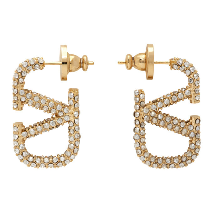 Photo: Valentino Gold Valentino Garavani Crystal VLogo Earrings