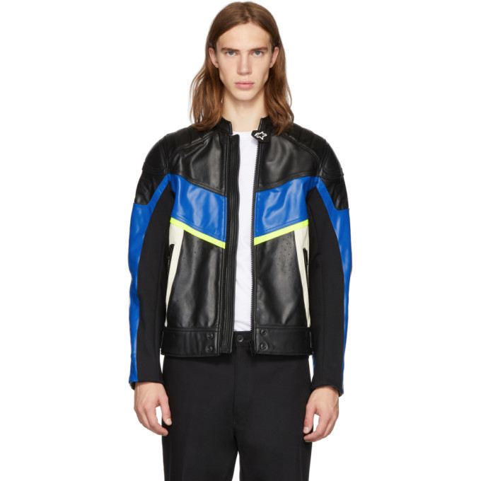 Photo: Diesel Black and Blue Leather Astars-LDUE Jacket