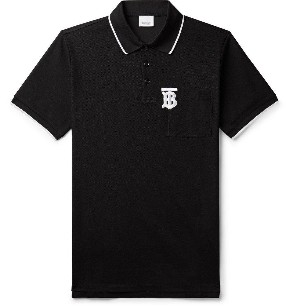 Photo: Burberry - Logo-Embroidered Contrast-Tipped Cotton-Piqué Polo Shirt - Black