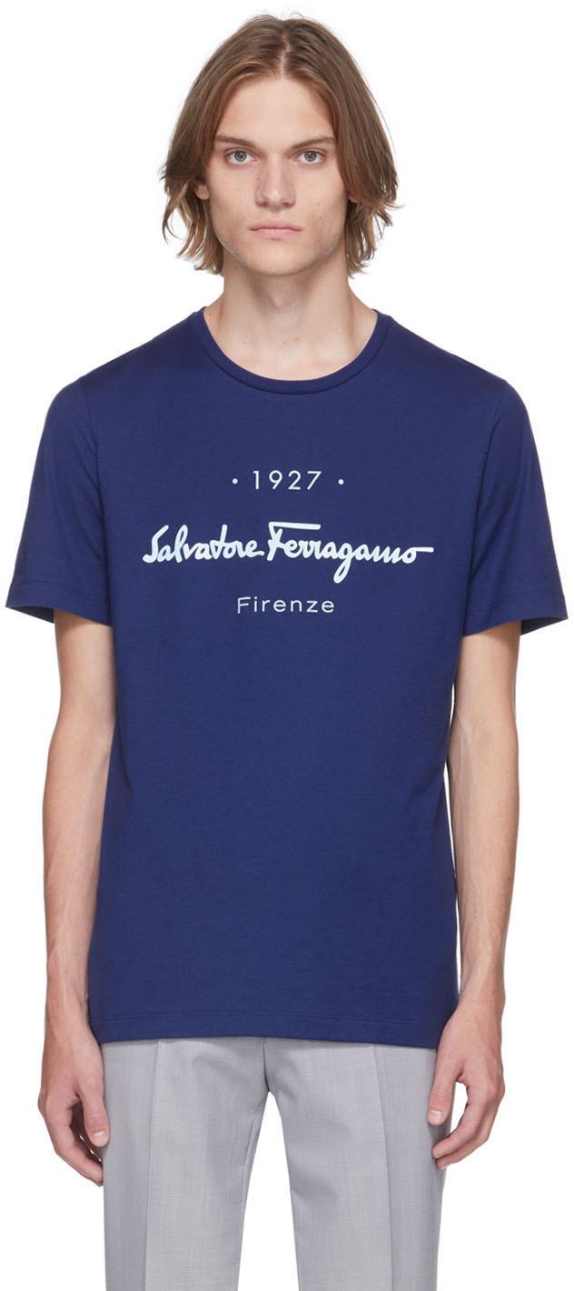 Photo: Salvatore Ferragamo Blue Logo T-Shirt
