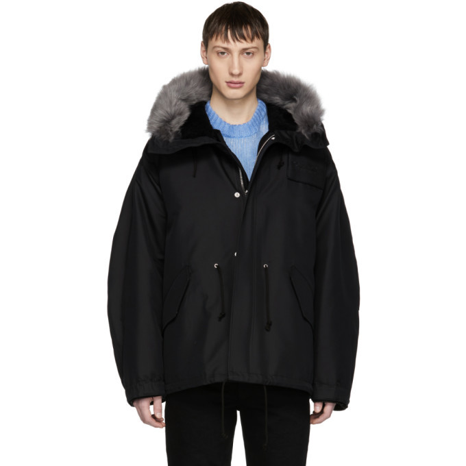 Photo: Calvin Klein 205W39NYC Black Short Faux-Fur Hood Parka