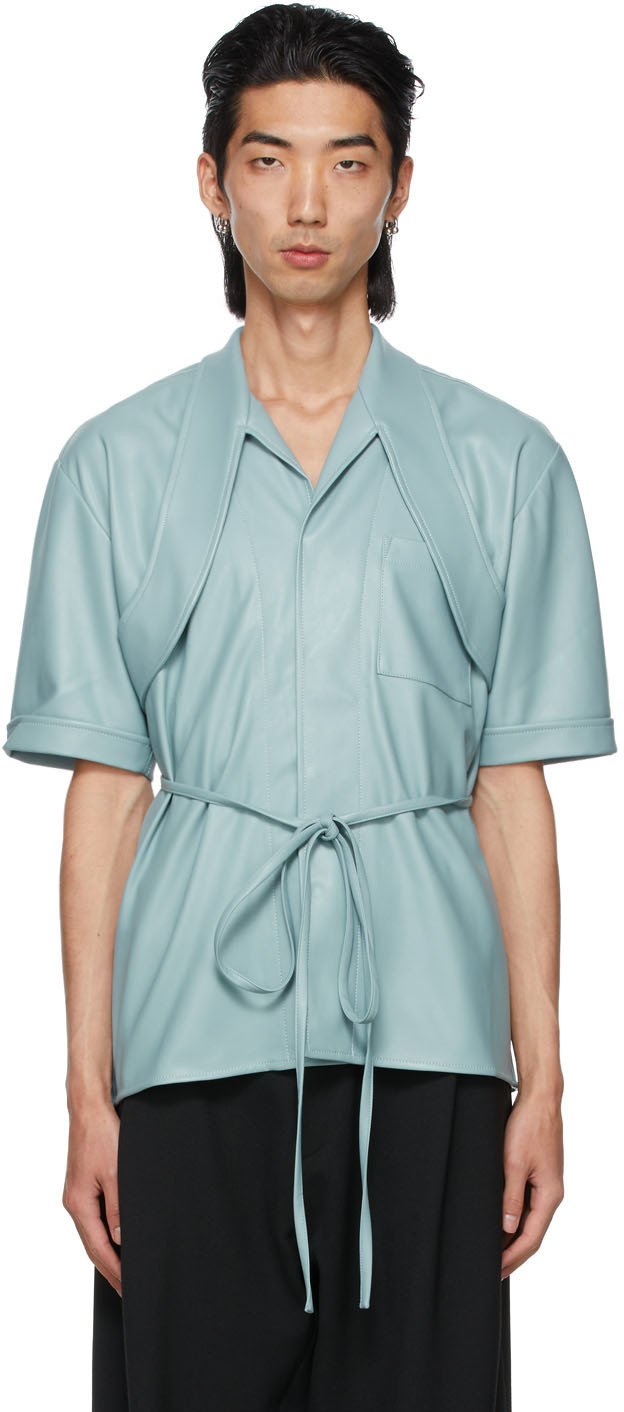 Photo: GmbH Blue Faux-Leather Latif Short Sleeve Shirt