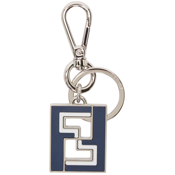 Photo: Fendi Navy and Silver Forever Fendi Keychain