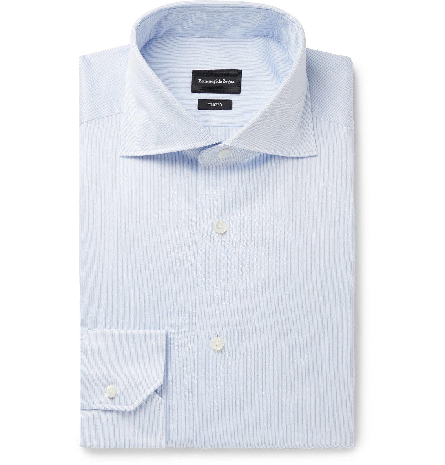 Photo: Ermenegildo Zegna - Light-Blue Slim-Fit Cutaway-Collar Striped Cotton-Poplin Shirt - Blue