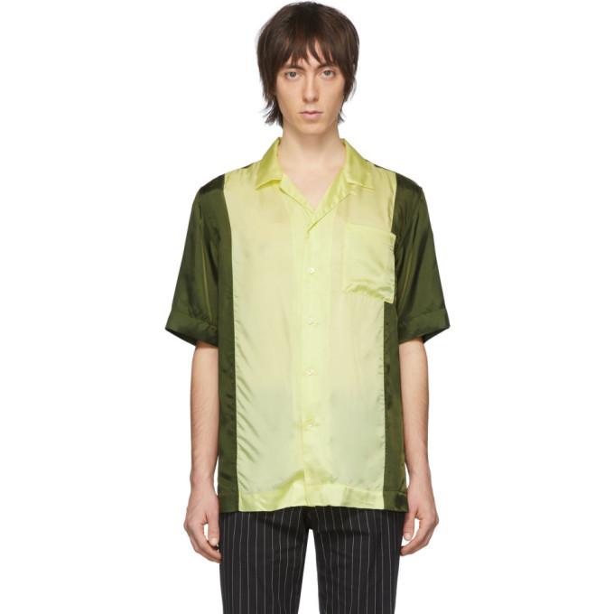 Photo: Dries Van Noten Green and Yellow Carltone Colorblocked Shirt