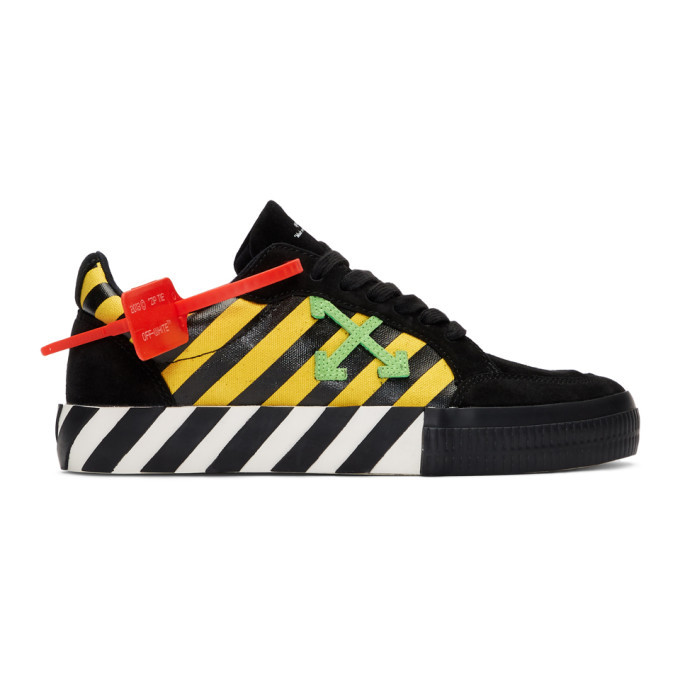 Photo: Off-White Black and Yellow Low Vulcanized Sneakers