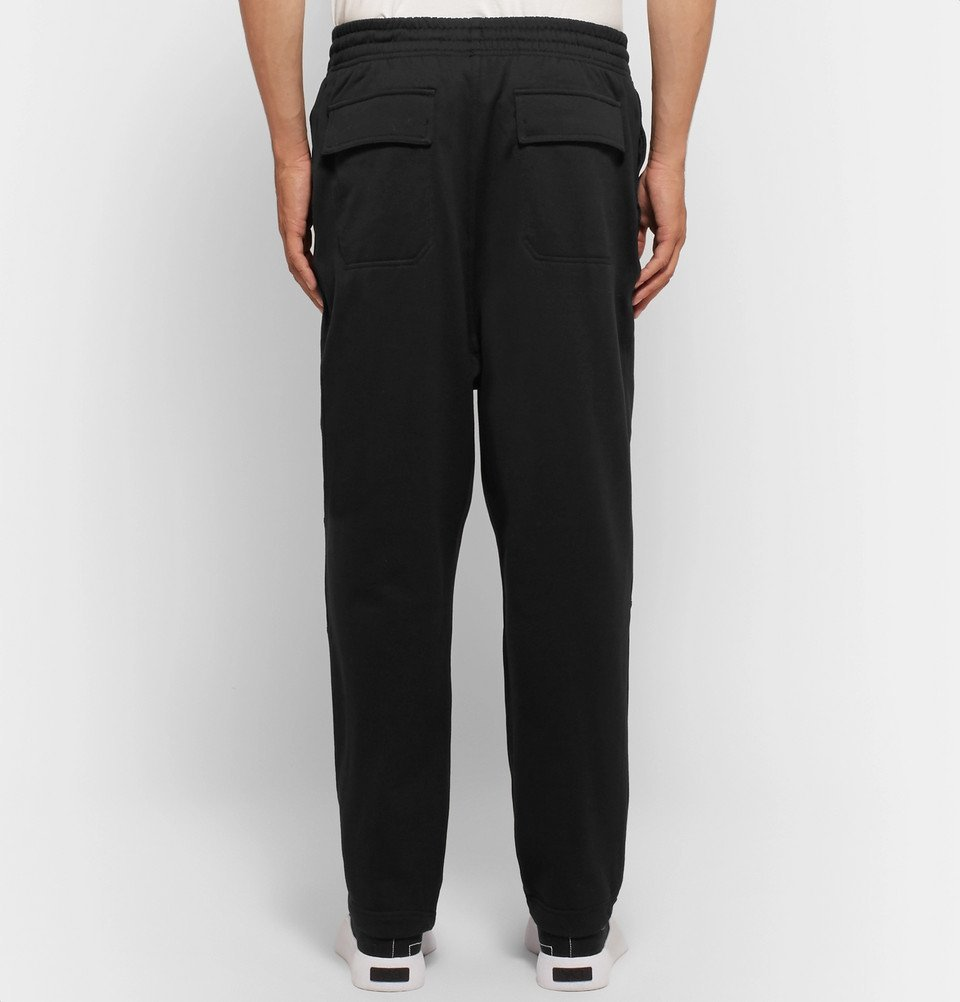 Y-3 - Sashiko Wide-Leg Loopback Cotton-Jersey Sweatpants - Black