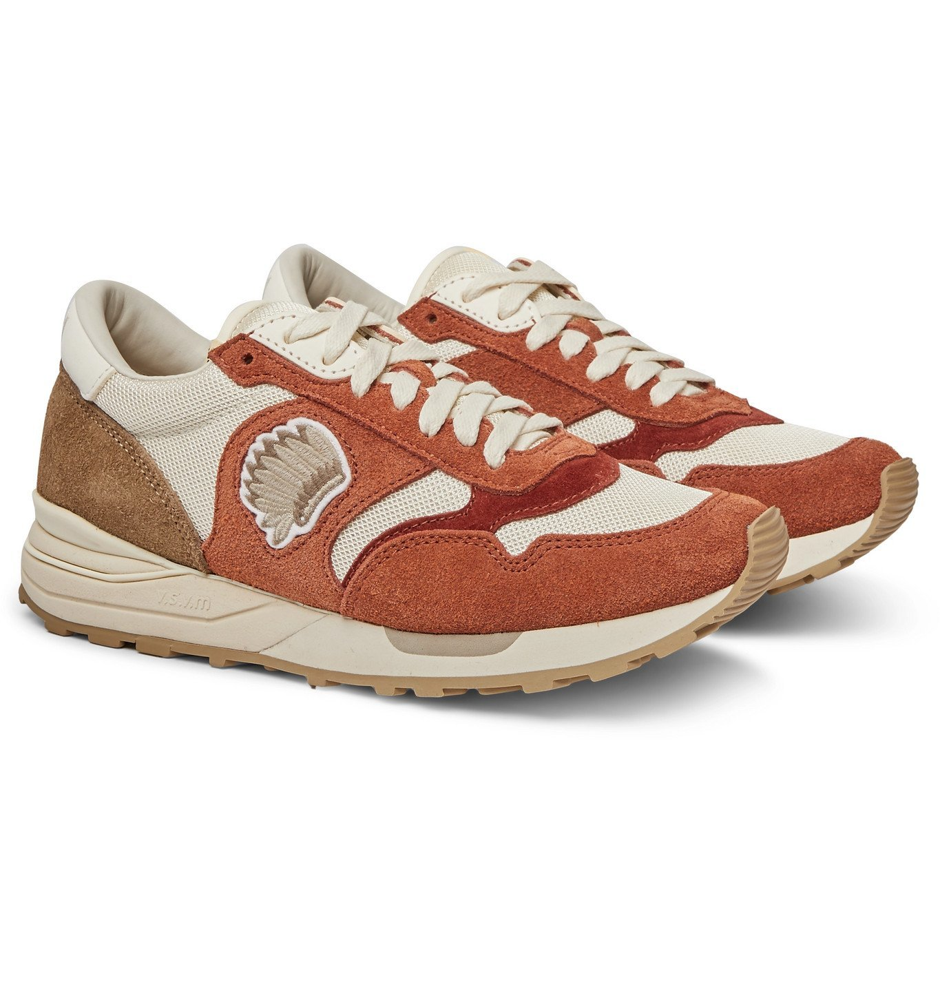 Photo: visvim - Roland Leather-Trimmed Suede and Mesh Sneakers - Orange