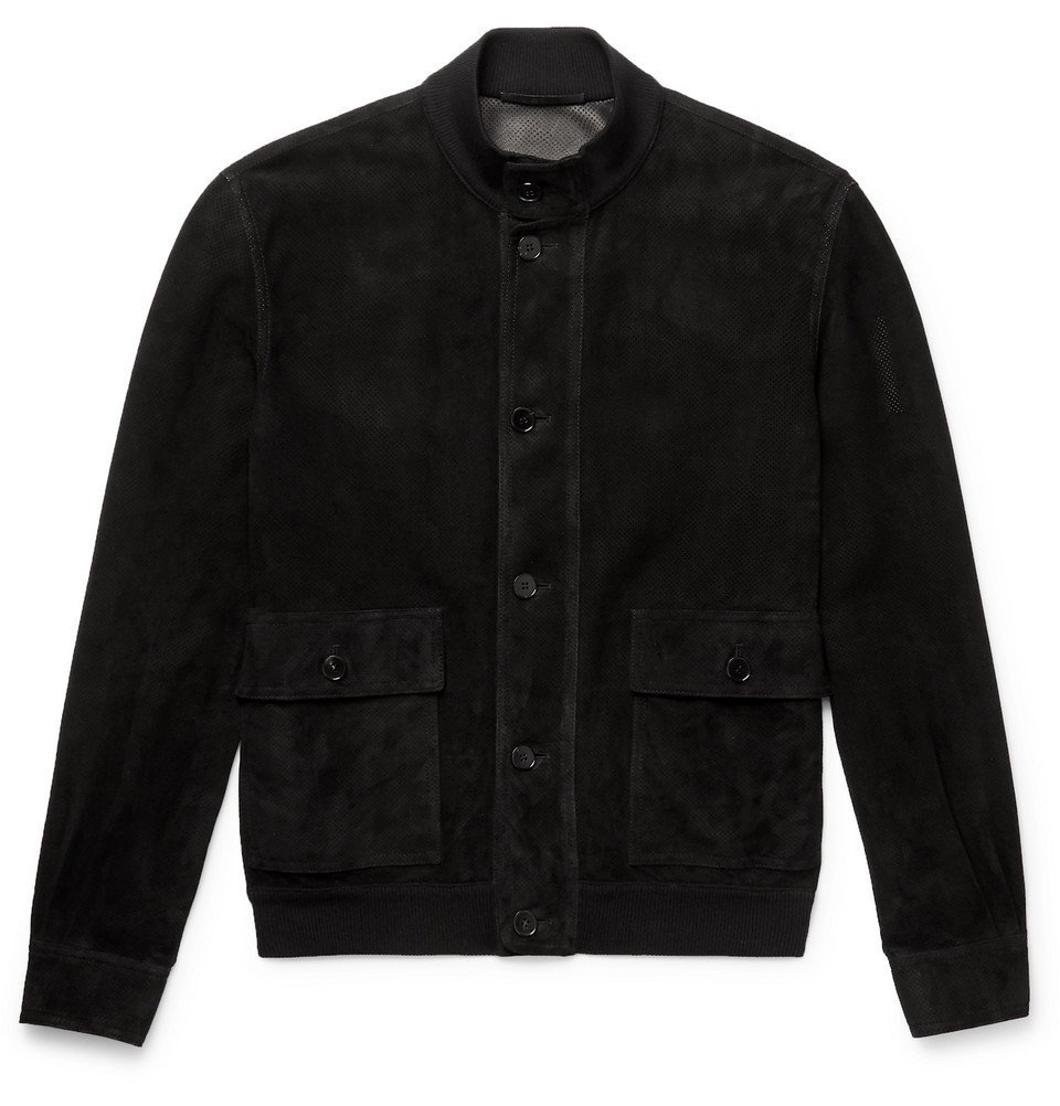 Photo: The Row - James Perforated Suede Bomber Jacket - Black