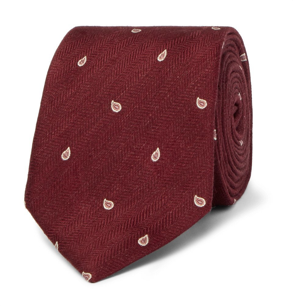 Dunhill - 7cm Paisley-Embroidered Herringbone Linen and Mulberry Silk-Blend Tie - Men - Burgundy