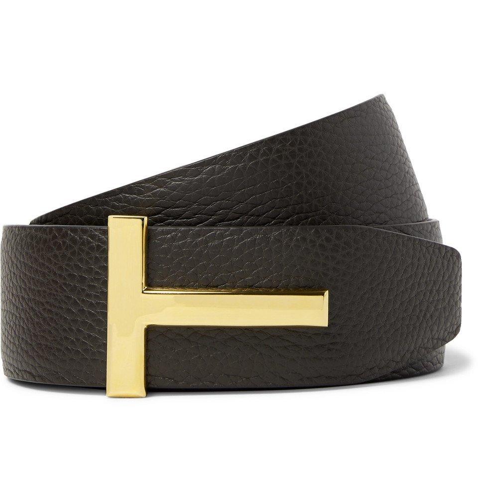 Photo: TOM FORD - 4cm Dark-Brown and Black Reversible Full-Grain Leather Belt - Dark brown