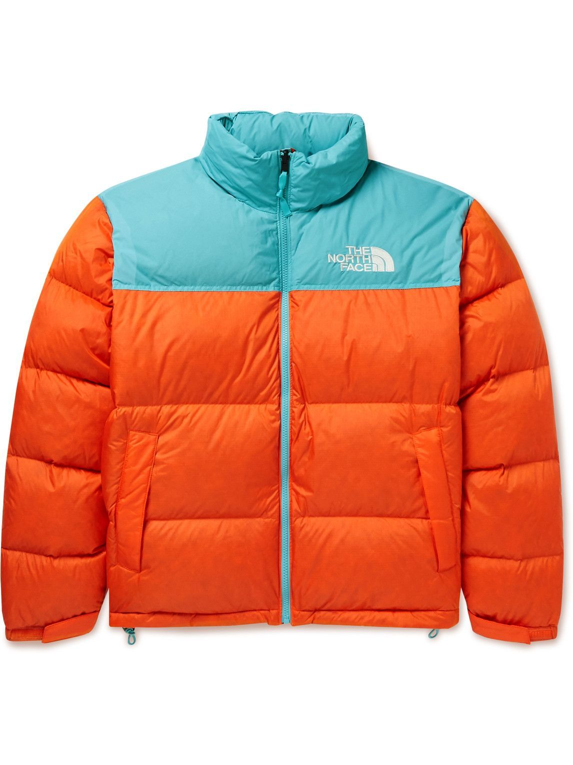 Photo: The North Face - 1996 Retro Nuptse Quilted Two-Tone Ripstop and Shell Down Jacket - Orange