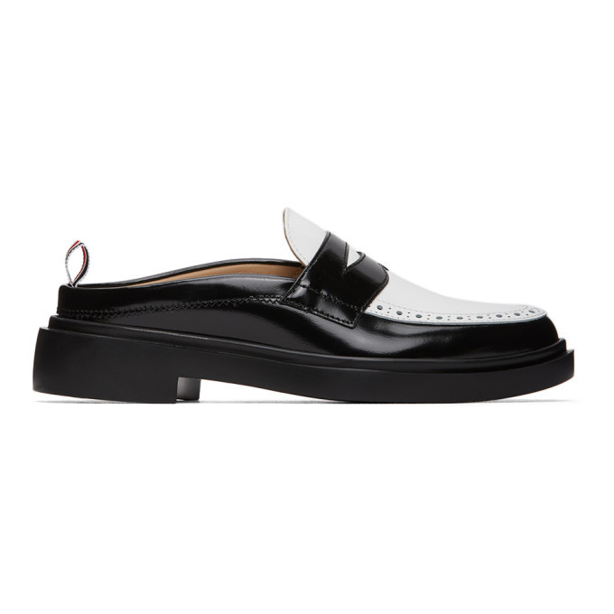 Photo: Thom Browne Black and White Cupsole Penny Loafers
