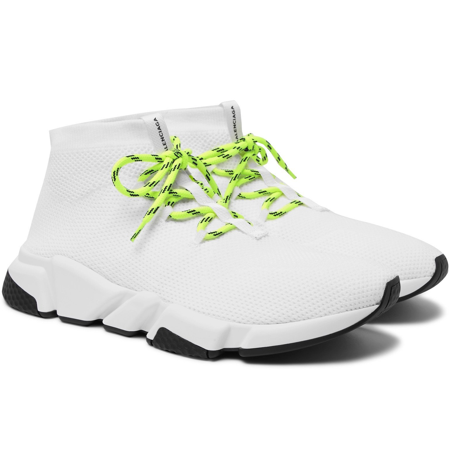 Photo: Balenciaga - Speed Sock Stretch-Knit Sneakers - White