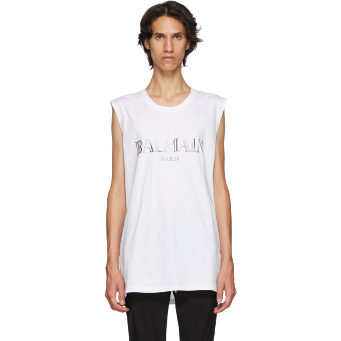Photo: Balmain White and Silver Logo Tank Top
