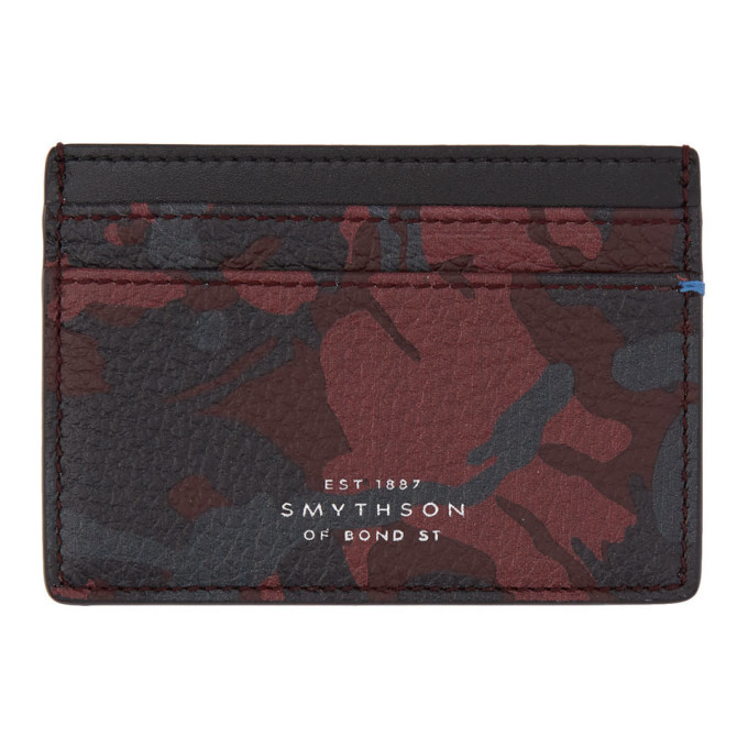 Smythson Red and Black Camo Burlington Card Holder