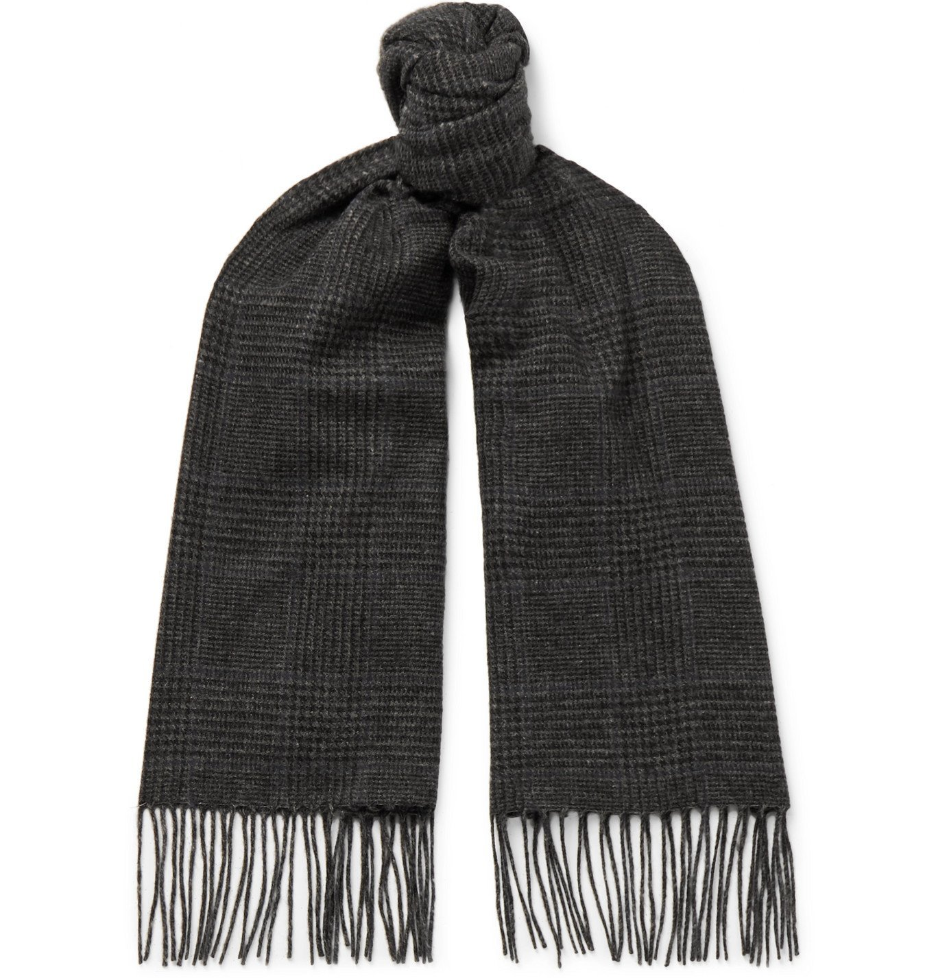 Photo: Ralph Lauren Purple Label - Fringed Prince of Wales Checked Camel Hair Scarf - Gray