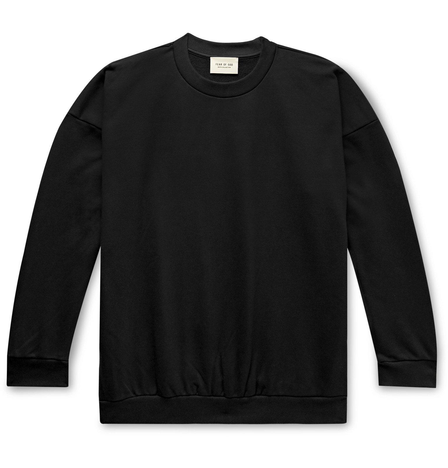 Photo: Fear of God - Oversized Logo-Print Loopback Cotton-Jersey Sweatshirt - Black
