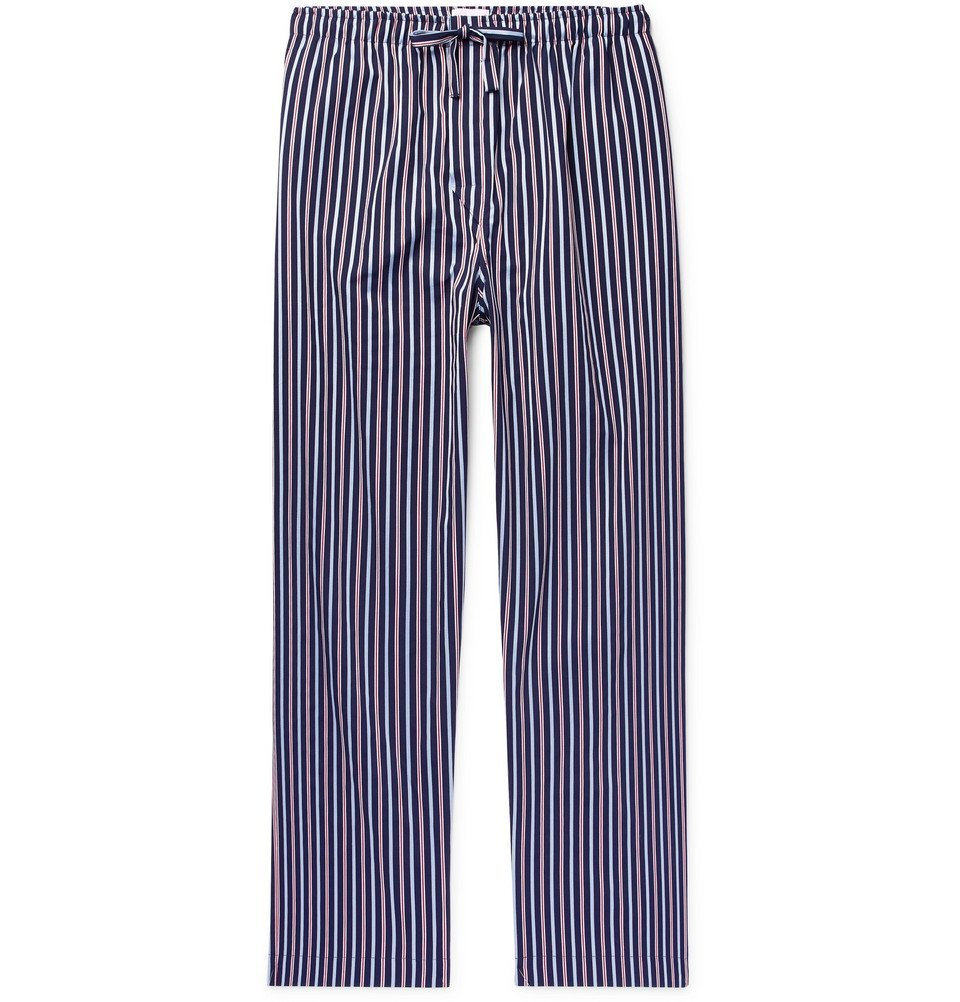 Photo: Derek Rose - Royal Striped Cotton-Satin Pyjama Trousers - Storm blue