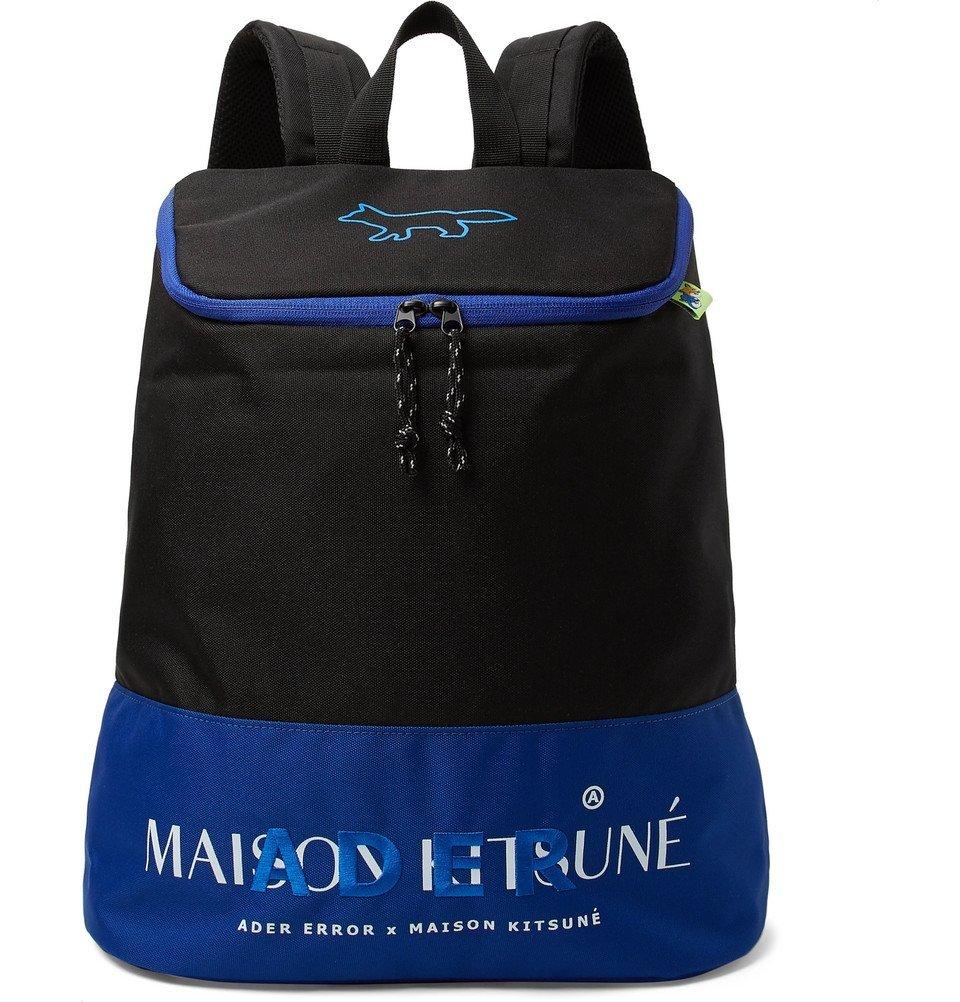 Photo: Maison Kitsuné - ADER error Logo-Embroidered Printed Canvas Backpack - Black