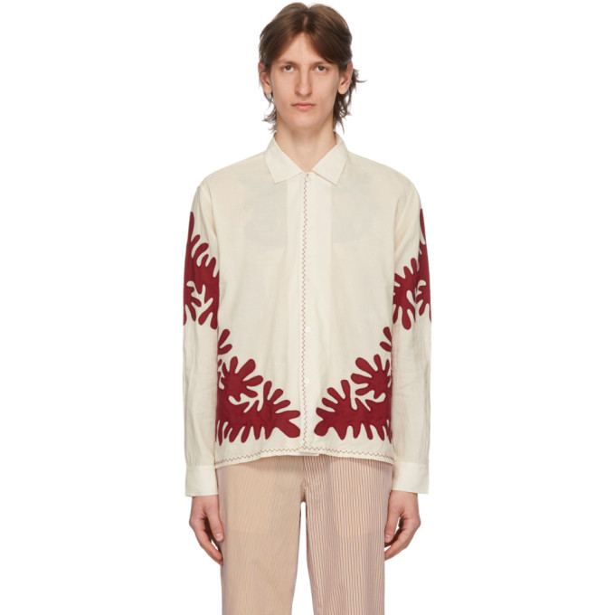 Photo: Bode White Cut-Out Applique Shirt