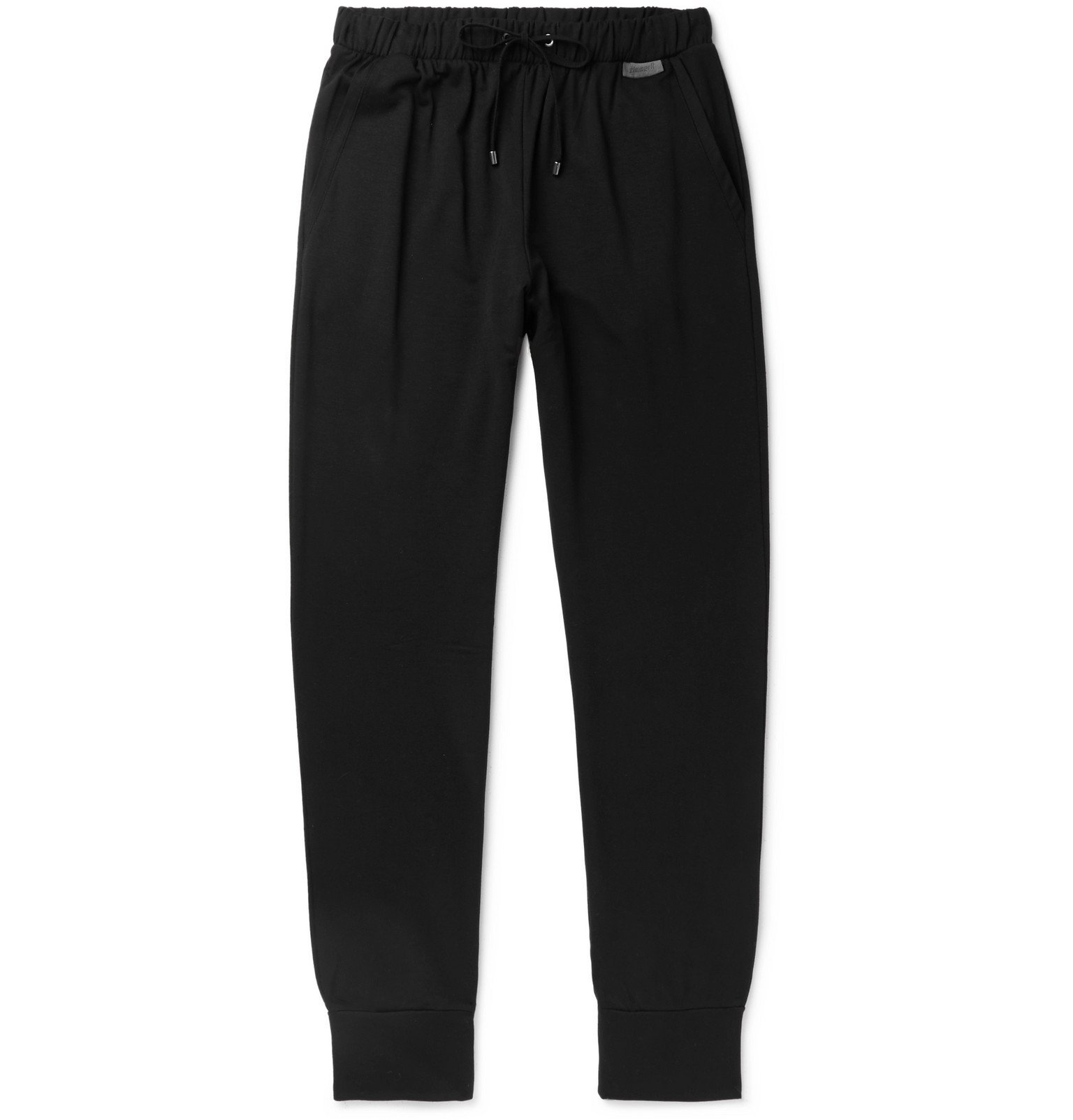 Photo: Zimmerli - Slim-Fit Fleece-Back Stretch-Jersey Sweatpants - Black
