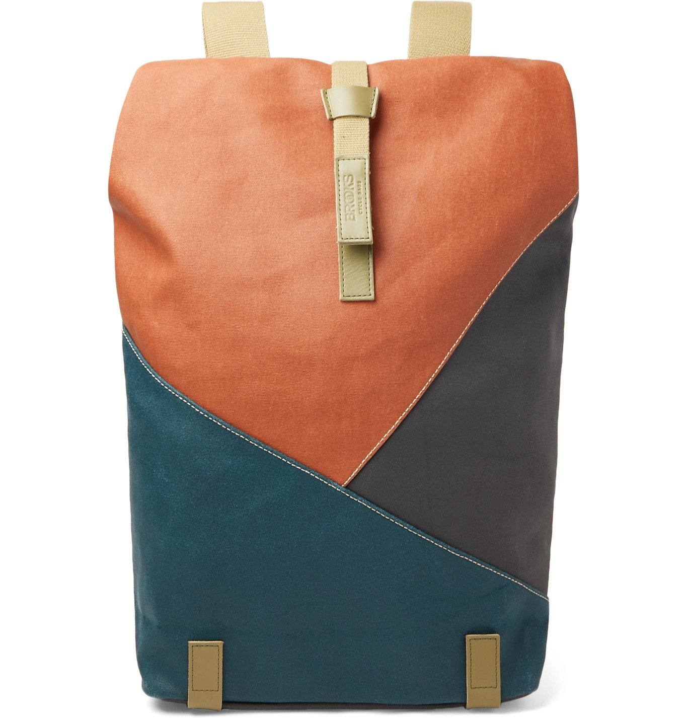 Photo: Brooks England - Pickwick Large Leather-Trimmed Patchwork Coated Cotton-Canvas Backpack - Red