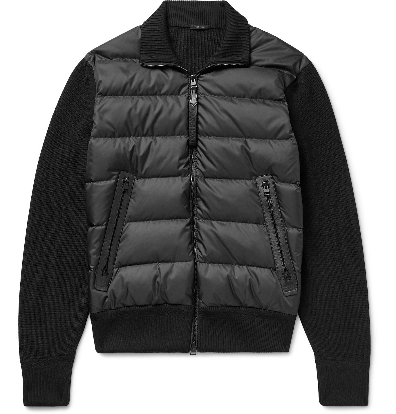 Photo: TOM FORD - Leather-Trimmed Ribbed Wool and Quilted Shell Down Jacket - Black