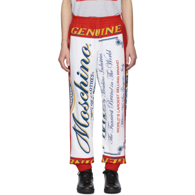 Photo: Moschino Red and White Budweiser Edition Logo Lounge Pants