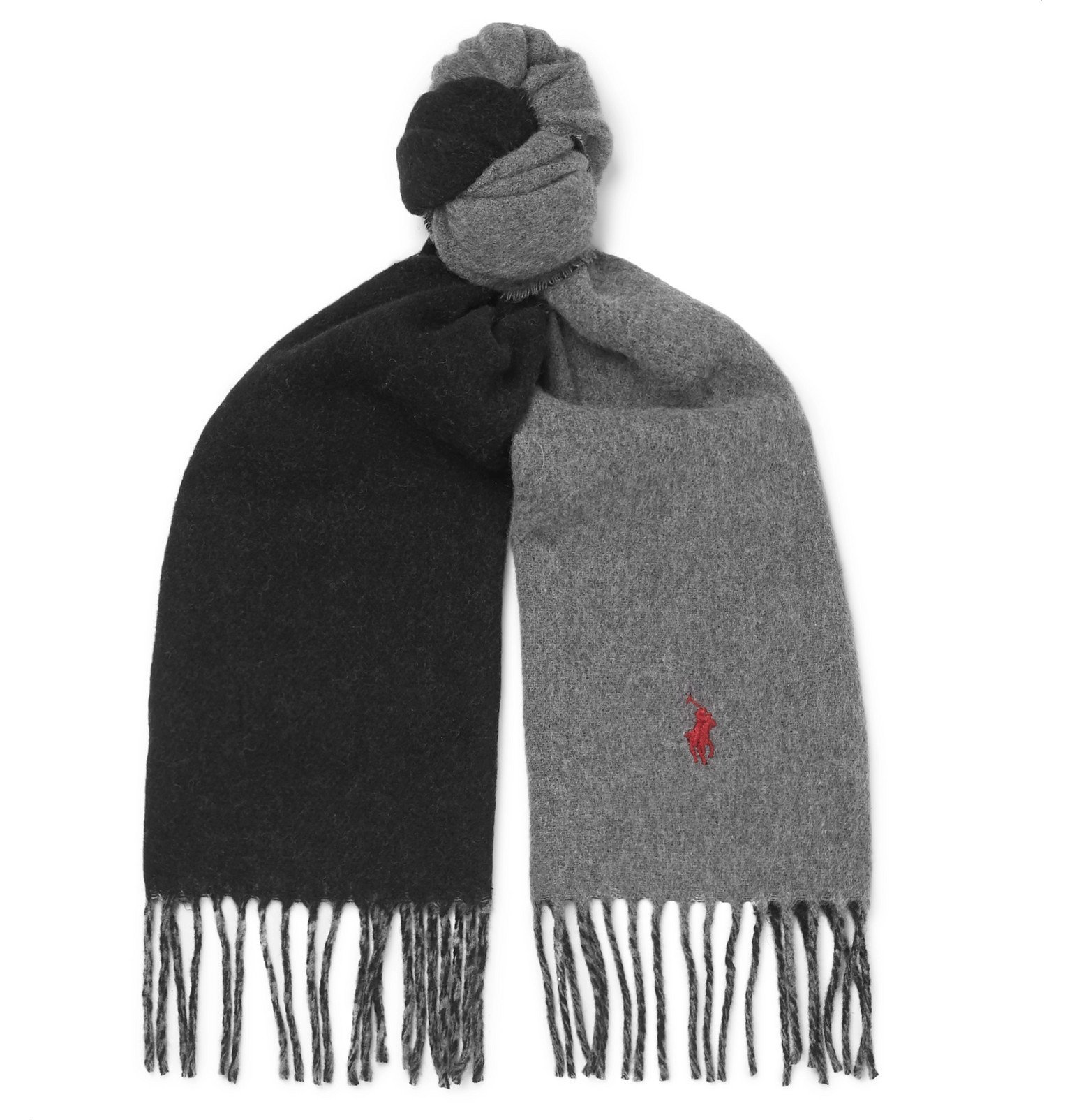 Photo: Polo Ralph Lauren - Reversible Fringed Wool-Blend Scarf - Gray