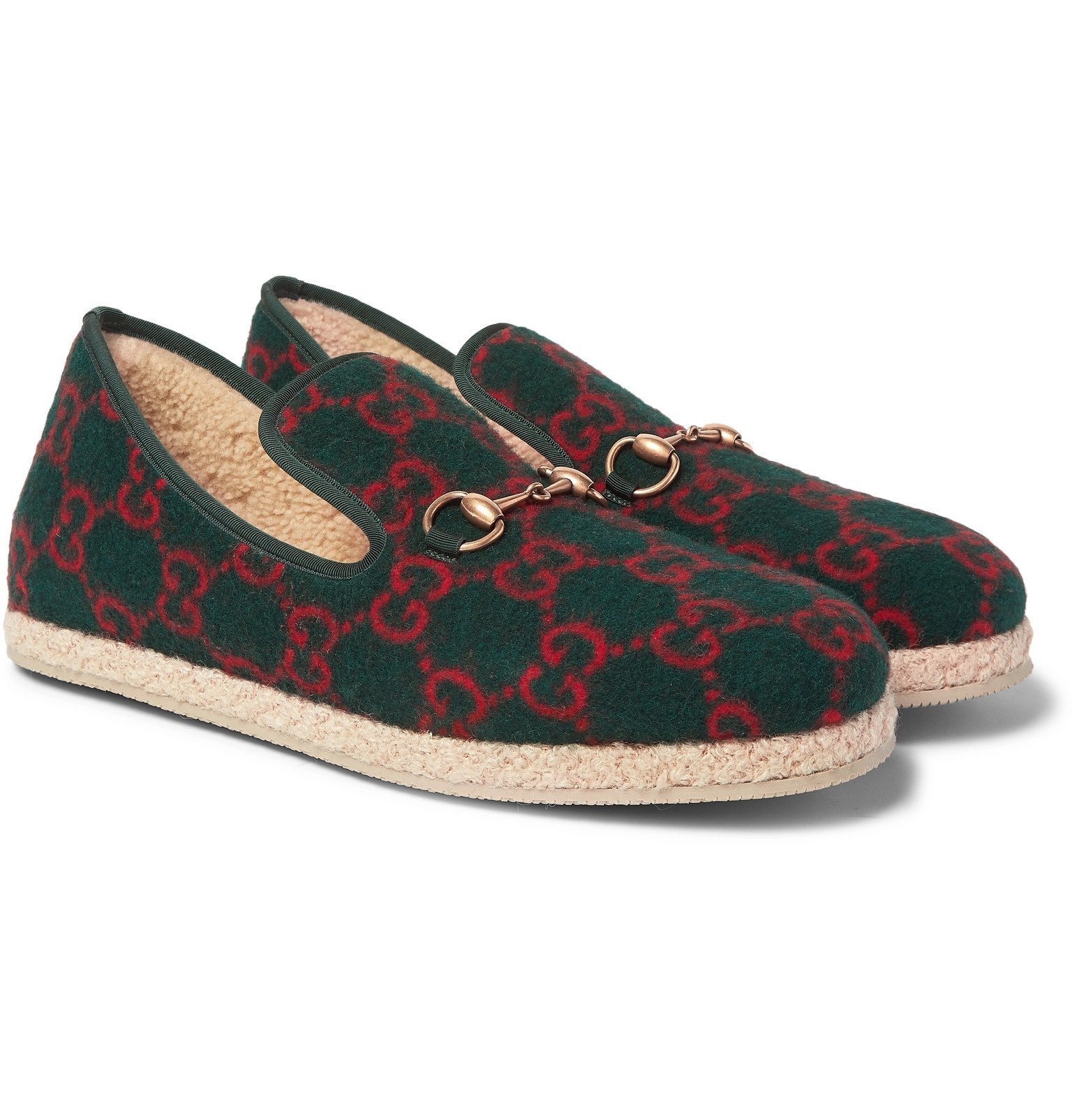 Photo: Gucci - Fria Horsebit Logo-Print Wool Loafers - Green