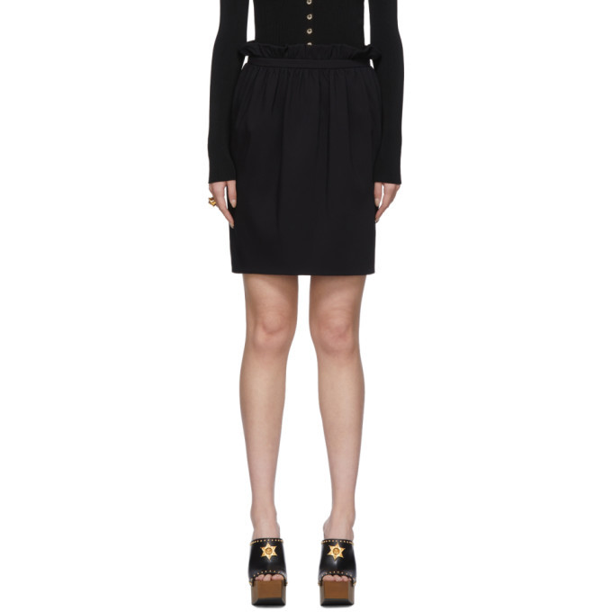 Photo: Versace Black Silk Pleated Waist Miniskirt