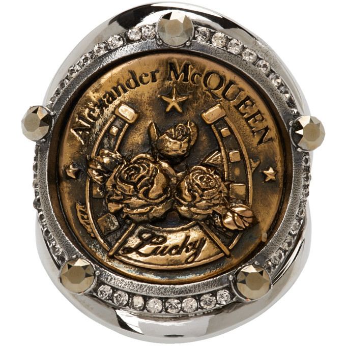 Photo: Alexander McQueen Gold and Silver Lucky Medallion Ring