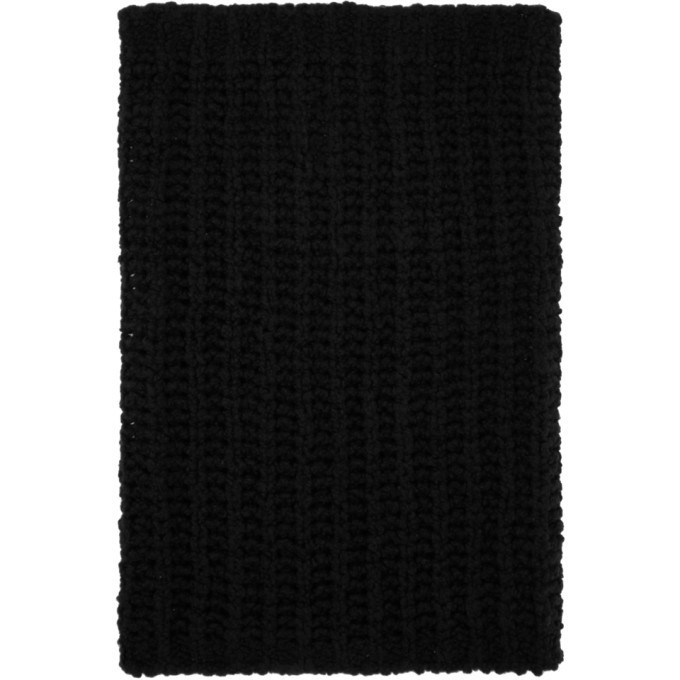 Photo: Rick Owens Black Knit Tube Fisherman Scarf