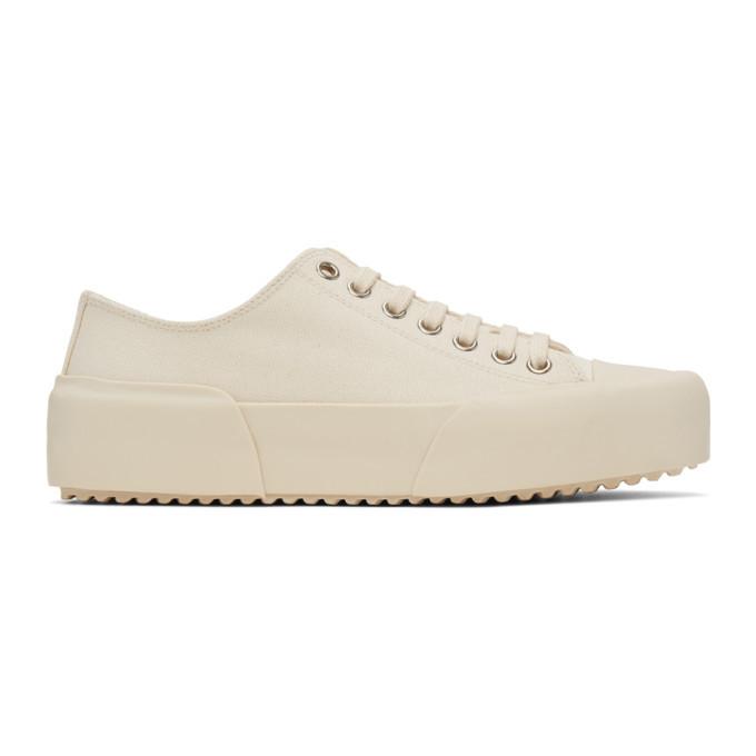 Photo: Jil Sander Off-White Canvas Sneakers