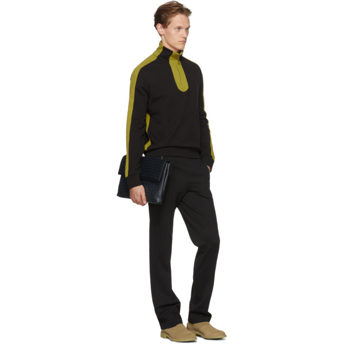 Bottega Veneta Black and Yellow Colorblock Zip-Up Sweater