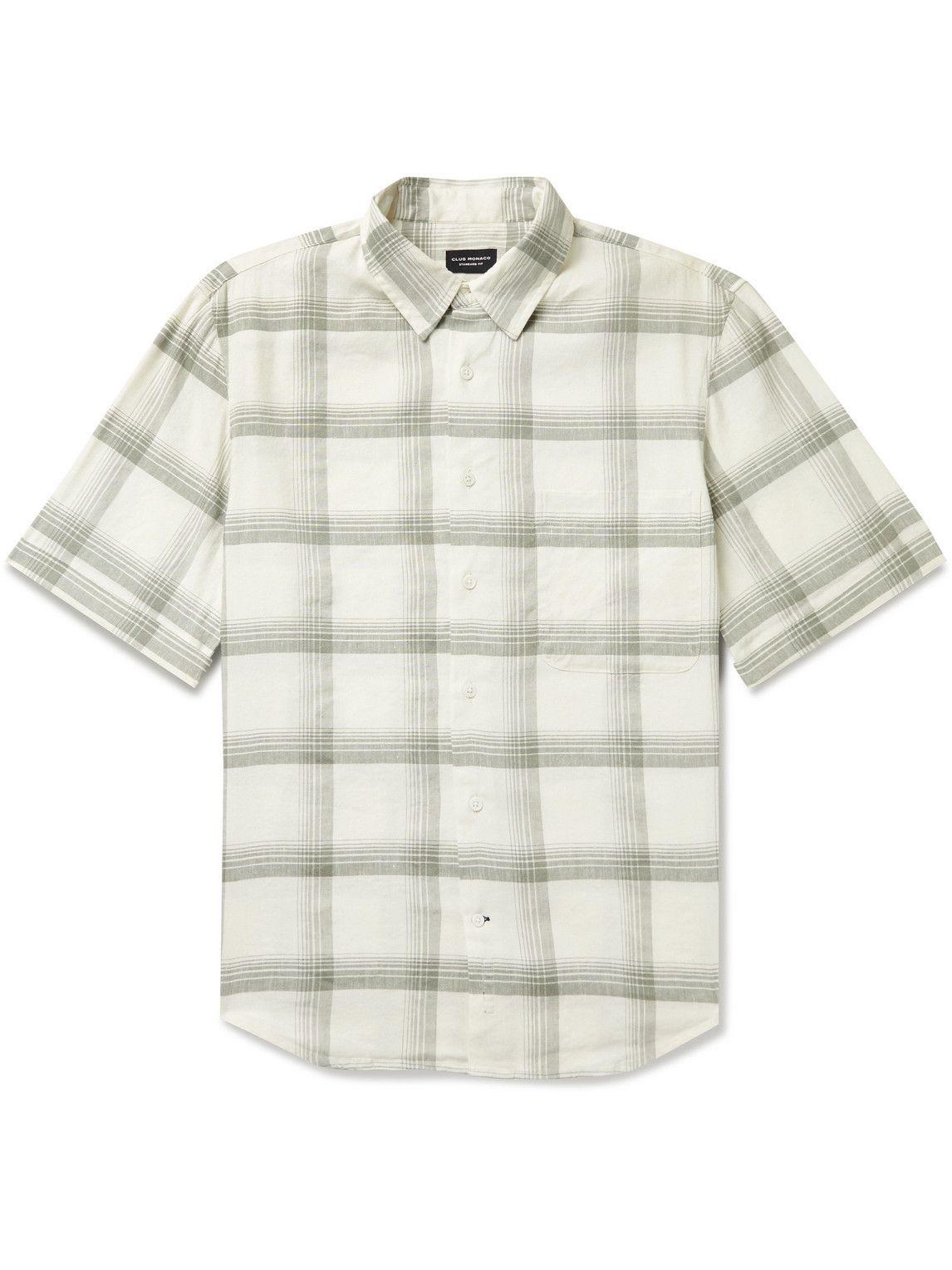 Photo: Club Monaco - Checked Linen-Blend Shirt - White