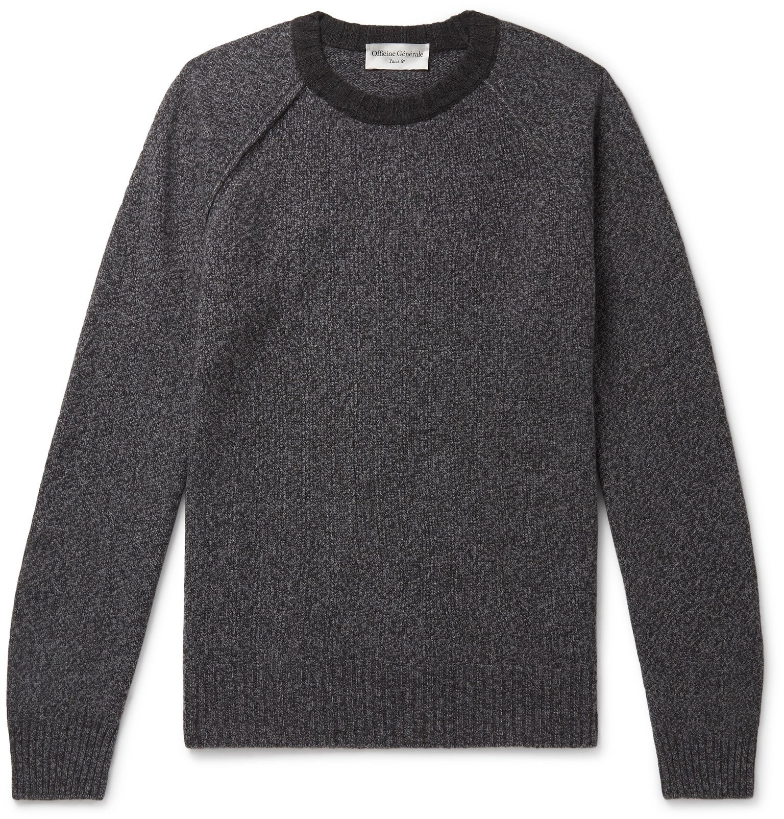 Photo: Officine Generale - Lars Mélange Wool and Cashmere-Blend Sweater - Gray