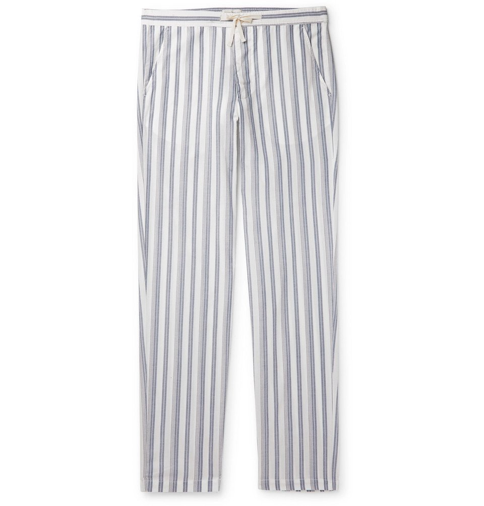 Photo: Oliver Spencer Loungewear - Striped Organic Cotton Pyjama Trousers - Blue