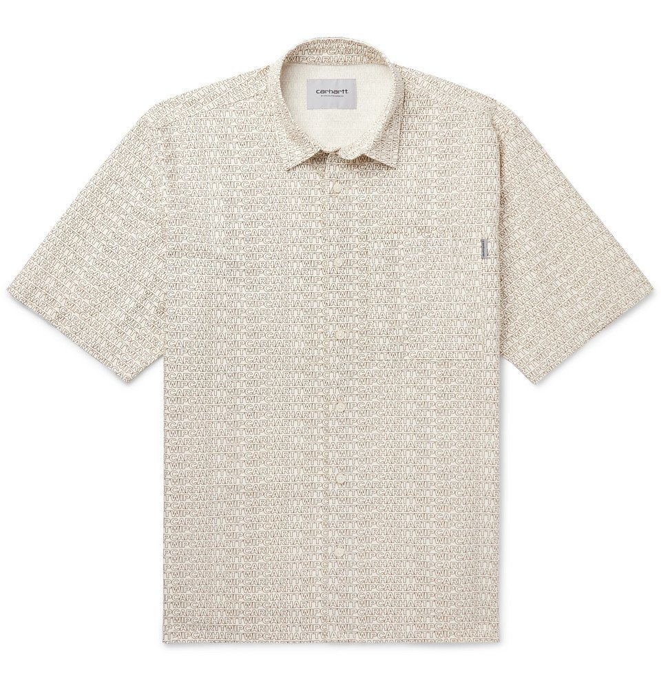 Photo: Carhartt WIP - Logo-Print Cotton-Twill Shirt - Off-white
