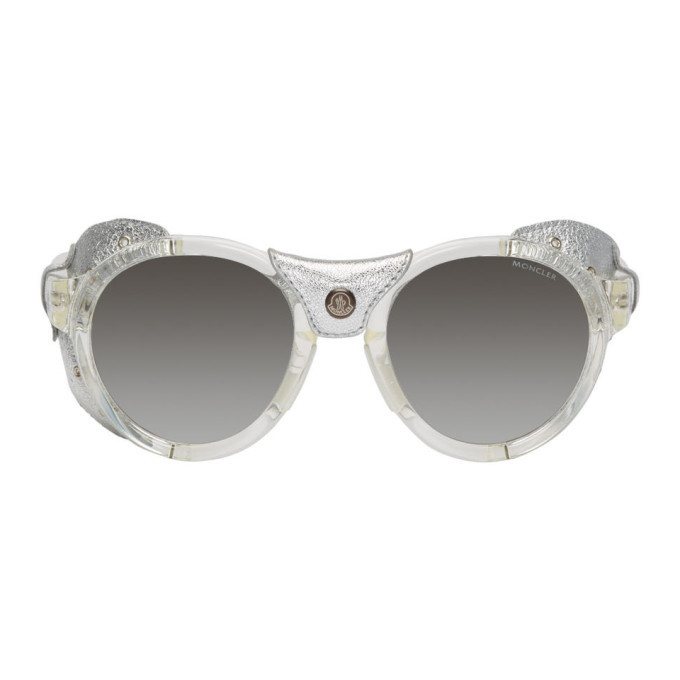 Photo: Moncler Silver Leather ML0046 Sunglasses