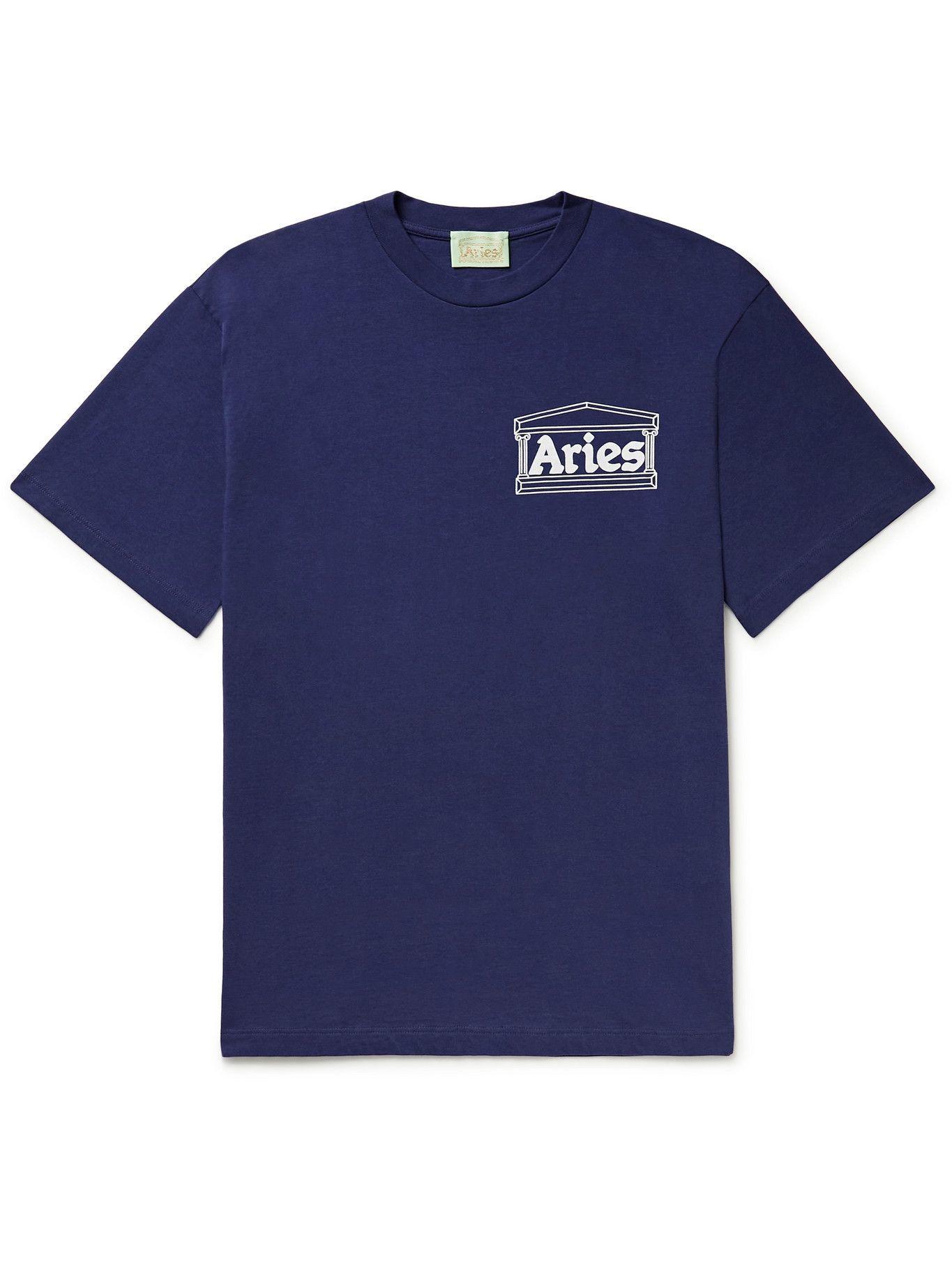 Photo: Aries - Mystic Business Logo-Print Cotton-Jersey T-Shirt - Blue