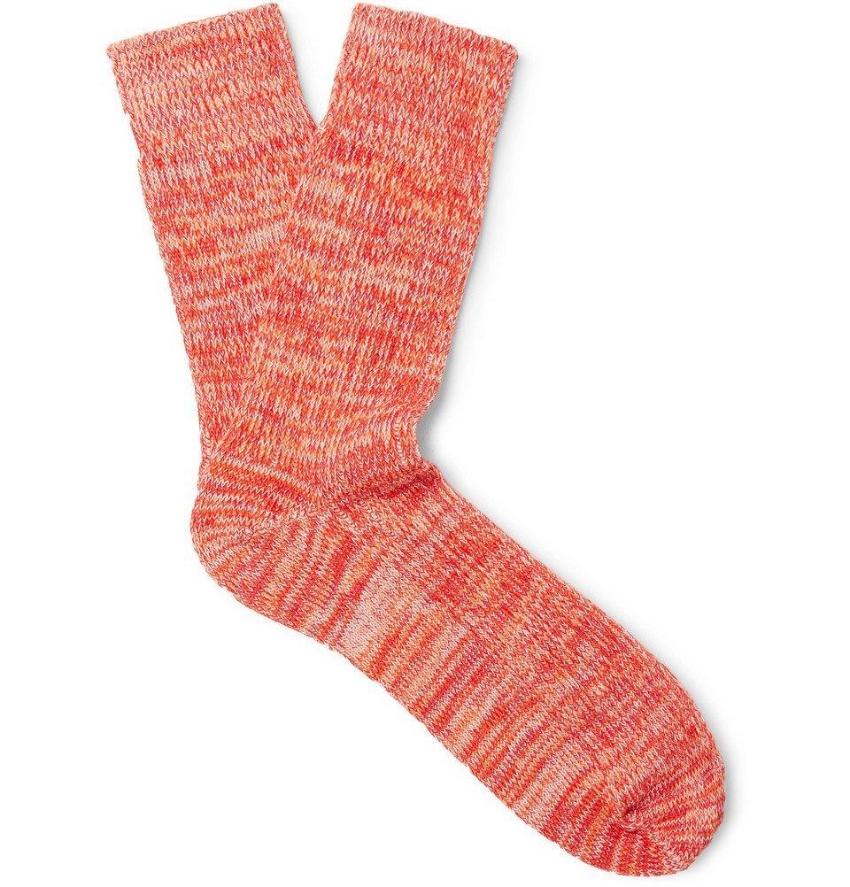 Photo: Albam - Mélange Cotton-Blend Socks - Men - Coral