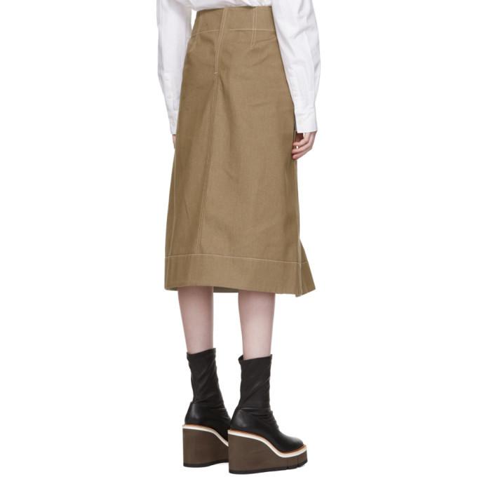 Lemaire Brown Denim Flared Skirt