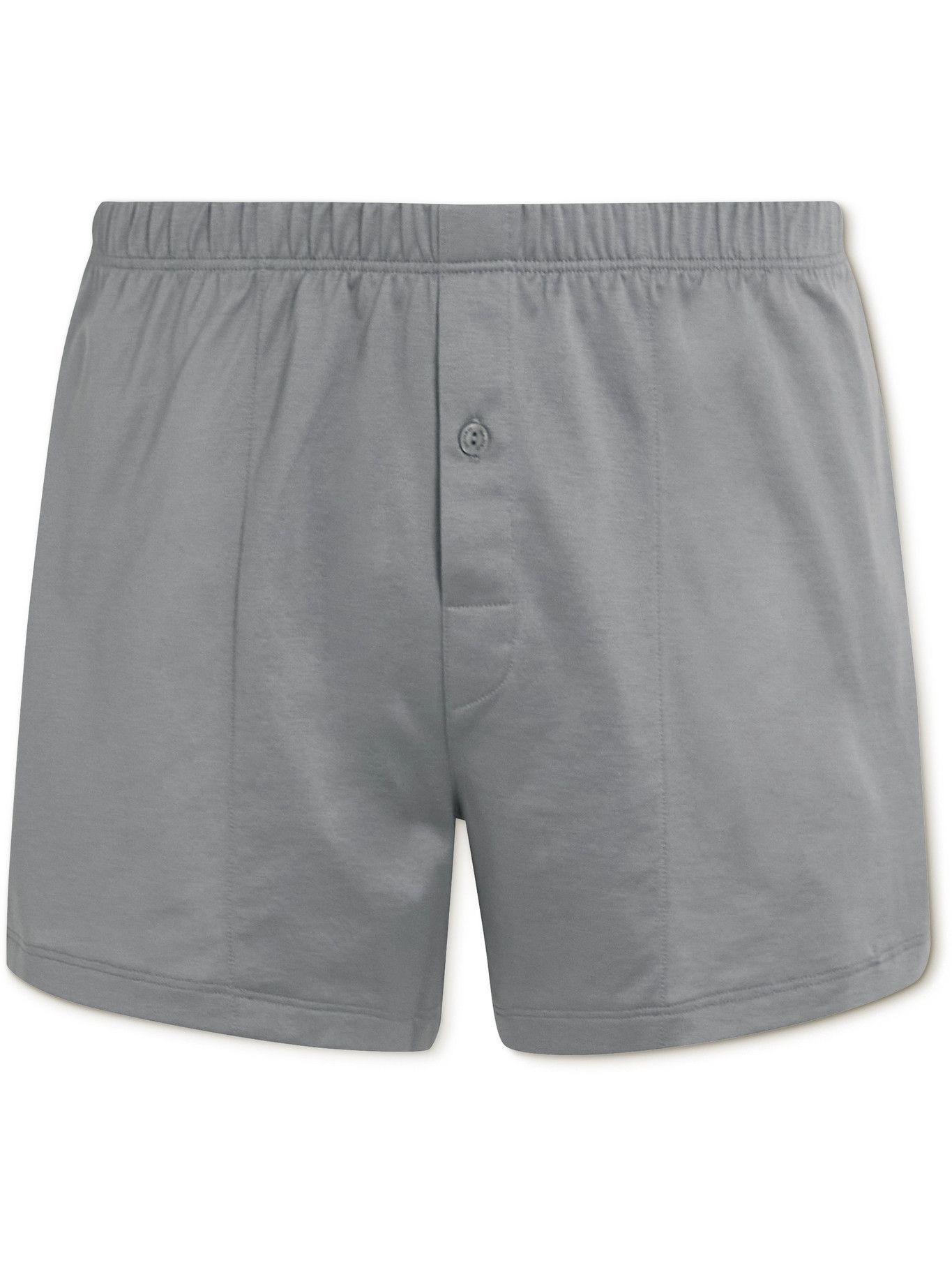 Photo: Hanro - Sporty Mercerised Cotton Boxer Shorts - Gray