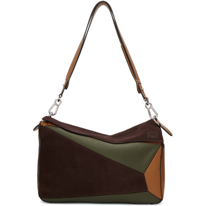 Photo: Loewe Brown and Khaki XL Puzzle Messenger Bag