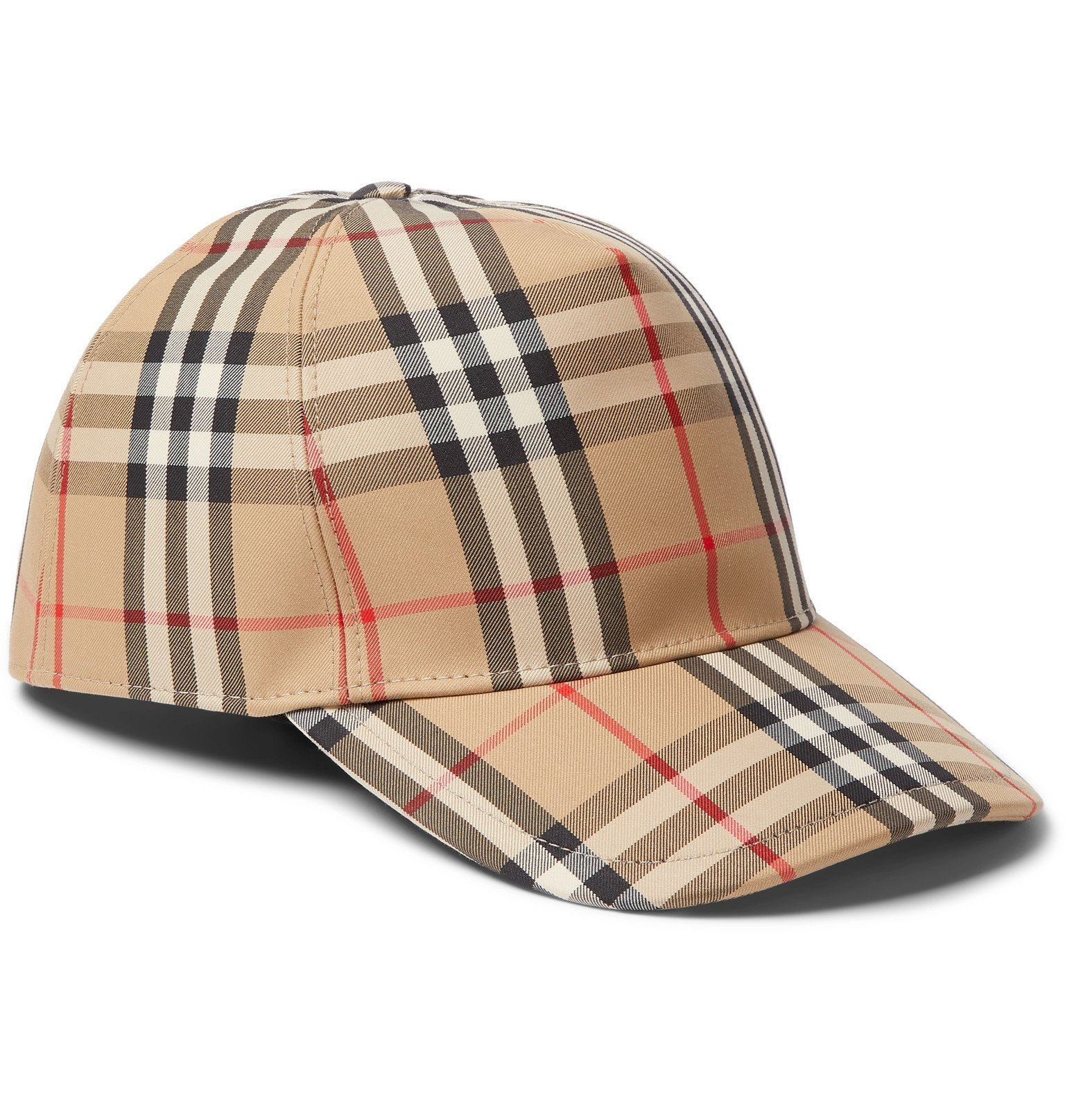 Photo: Burberry - Leather-Trimmed Checked Cotton-Blend Canvas Baseball Cap - Brown